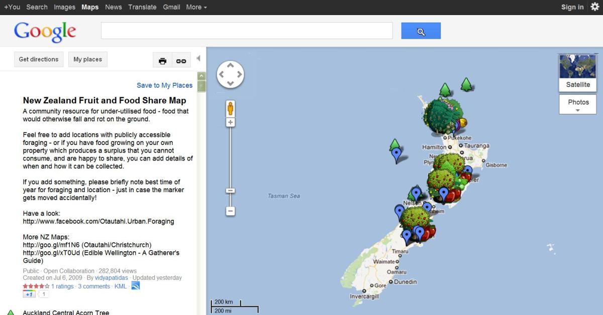 Free Fruit and Food Share map for hunter and gatherers in NZ