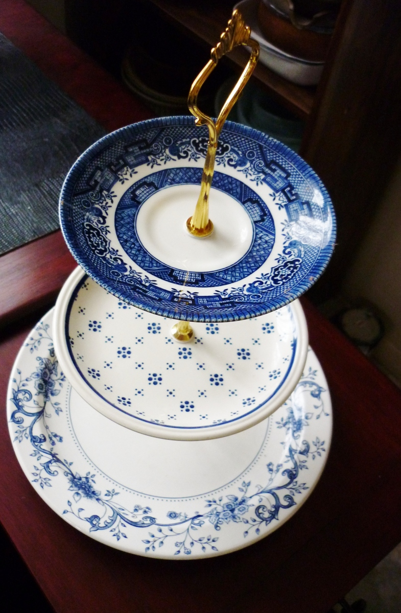 High tea style cake stands, anyone for crust less cucumber sammies, or scones with cream and jam?