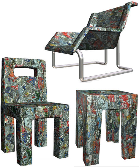 Crushed cans furniture