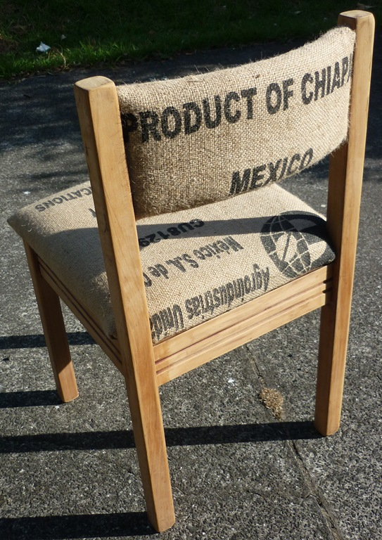 Burlap recovered chair