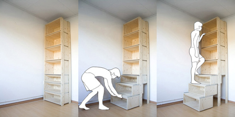 Pull out step bookcase