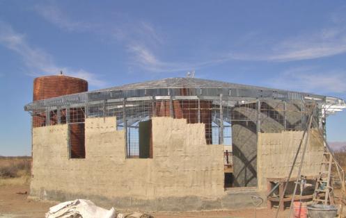 Burlapcrete used house construction
