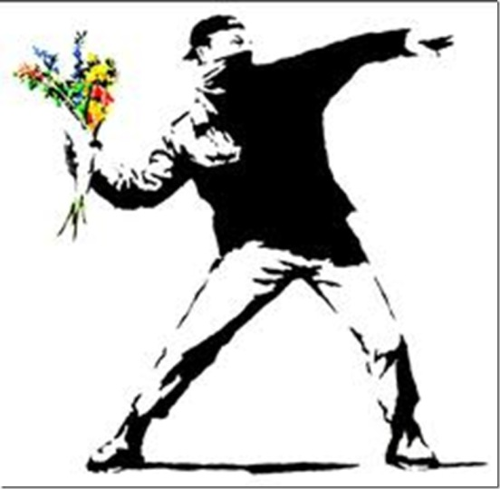 man throwing flowers