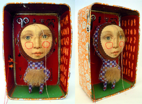 Visual-artist-Cecile-Perra-Handmade-puppet-in-a-box
