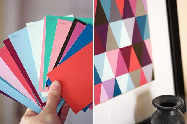 geometric art paint chip