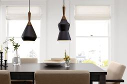 Porcelain-wood-and-brass-pendant-lighting-from-Room-and-Board